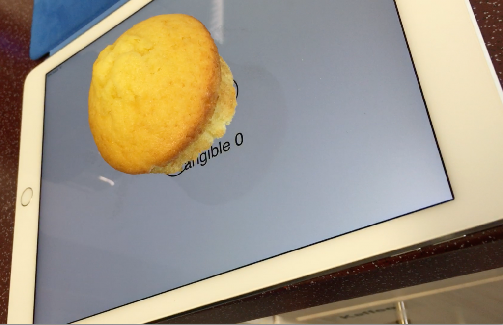 A muffin with a special footprint detected by the capacitive touchscreen of an iPad